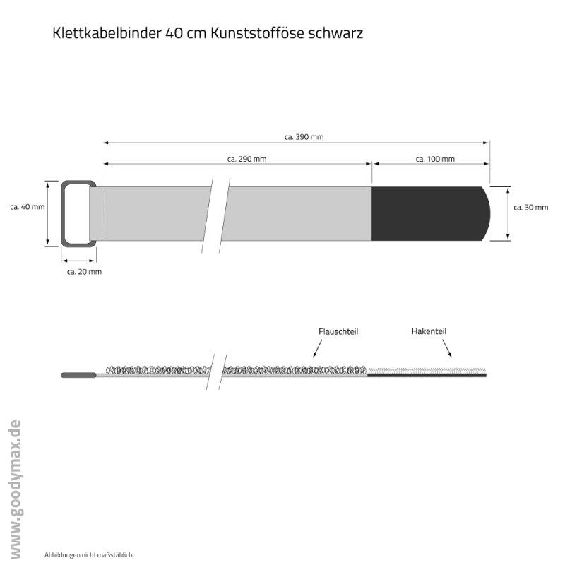 klettkabelbinder 40 cm schwarz mit kunststoff se 1 st ck 1 19. Black Bedroom Furniture Sets. Home Design Ideas