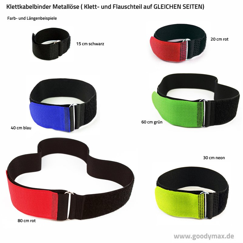 30 x Kabelklettband FK 80 cm x 50 mm neon grün Klettband Klett Kabel Binder Band