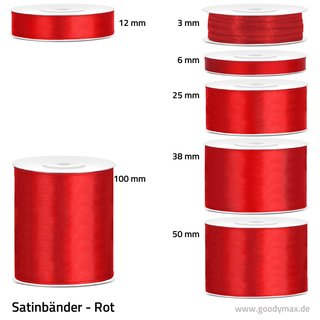 Satinband - 6 mm x 25 m - Rot