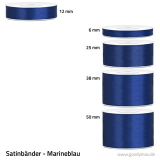 Satinband - 12 mm x 25 m - Marineblau