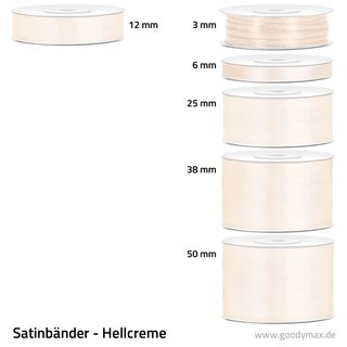 Satinband - 25 mm x 25 m - Hellcreme