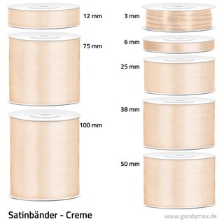 Satinband - 75 mm x 25 m - Creme
