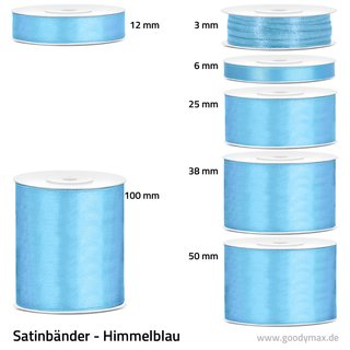 Satinband - 100 mm x 25 m - Himmelblau