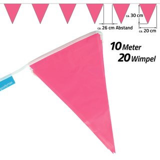 Wimpelkette 10 m Pink